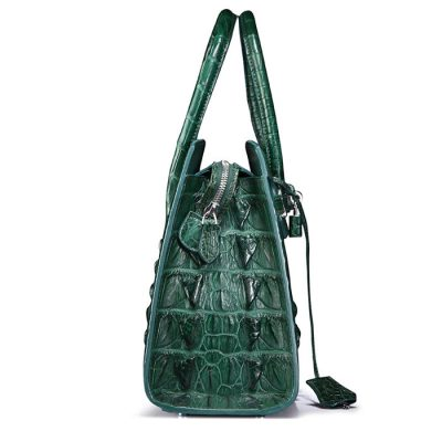 Luxury Green Genuine Crocodile Handbag-Side