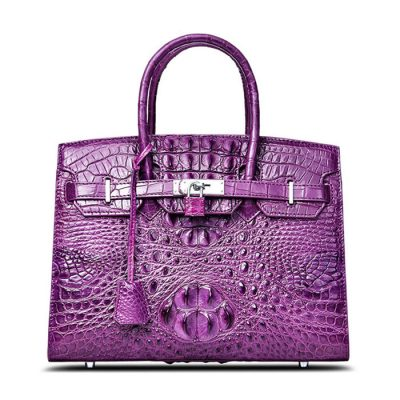 Luxury Purple Genuine Crocodile Handbag