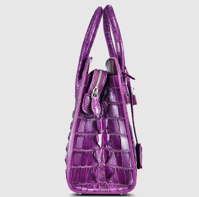 Purple Genuine Crocodile Handbag-Side