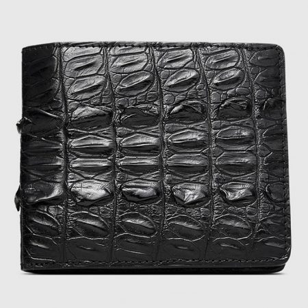Mens Bifold Genuine Crocodile Wallet-Front