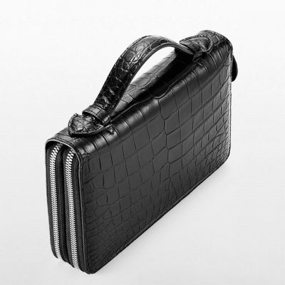 Mens Crocodile Clutch Bag, Large Crocodile Wallet-Top