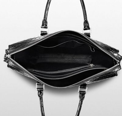 Mens Fashion Crocodile Bag-Black-Inside