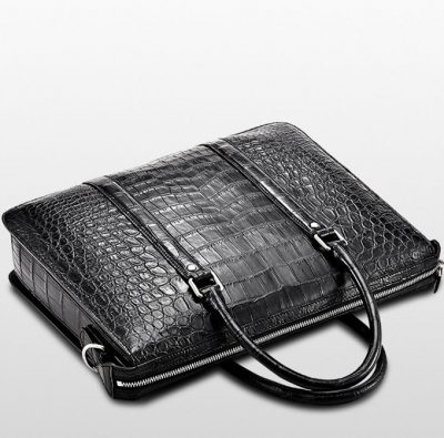 Mens Fashion Crocodile Bag-Black-Top