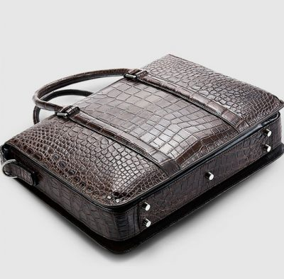Mens Fashion Crocodile Bag-Brown-Bottom