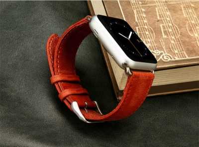 Red Leather Apple Watch Bands Exterior-1
