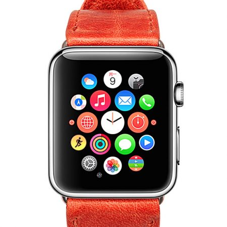 Red Leather Apple Watch-Front