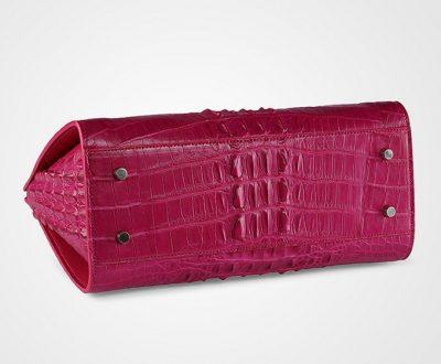 Rose Red Elegant Genuine Crocodile Handbag-Bottom