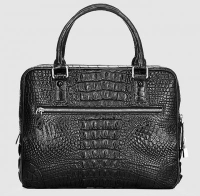 Small Black Genuine Crocodile Briefcase Bag-Back
