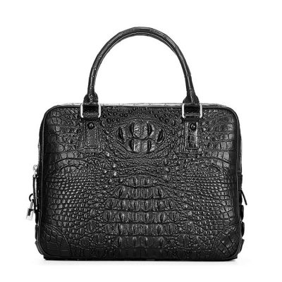 Small Black Genuine Crocodile Briefcase Bag-Front