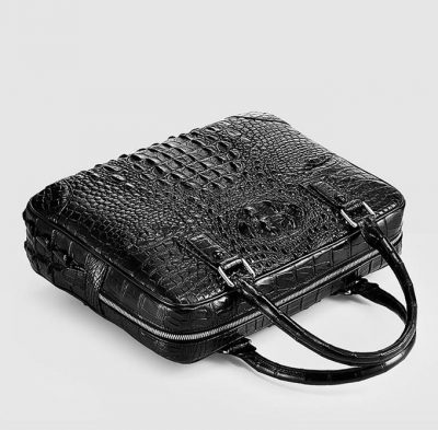 Small Black Genuine Crocodile Briefcase Bag-Top
