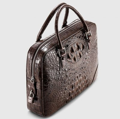 Small Brown Genuine Crocodile Briefcase Bag-Top