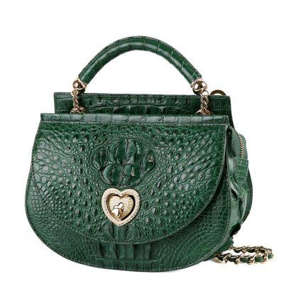 Stylish Crocodile Evening Handbag-Green