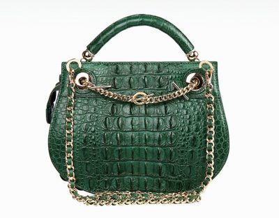 Stylish Crocodile Evening Handbag-Dark-Green-Back