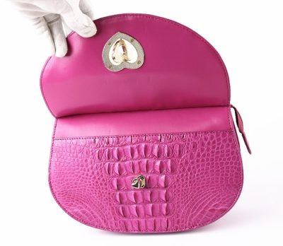 Stylish Crocodile Evening Handbag-Button