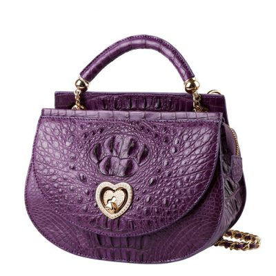 Stylish Crocodile Evening Handbag-Purple