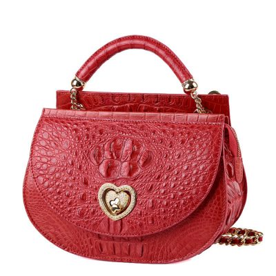 Stylish Crocodile Evening Handbag-Red