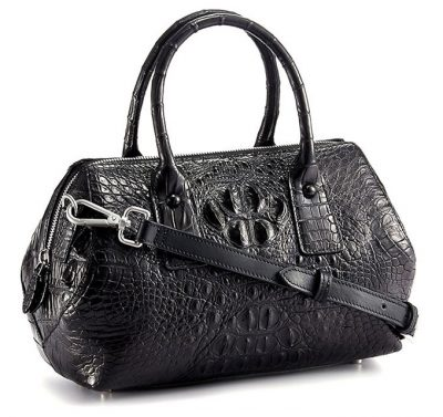 Stylish Crocodile Skin Barrel Bag-Right