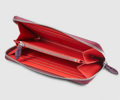 Womes Genuine Crocodile Long Wallet, Crocodile Purse-Inside