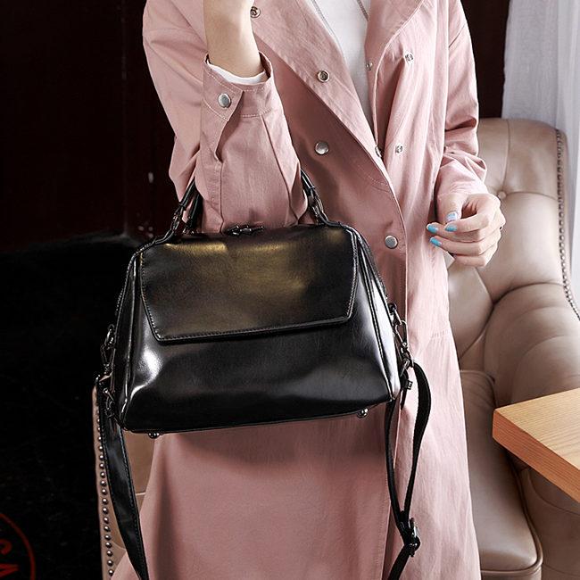 Adona Leather Handbag-Black