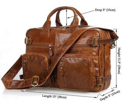 Brown Leather Briefcase Leather Backpack-Size