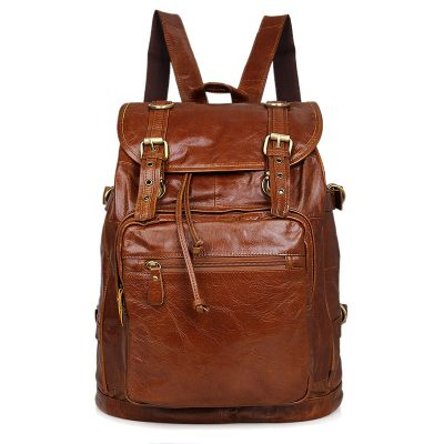 Classic Leather Briefcase Travel Backpack For Men
