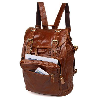 Classic Leather Briefcase Travel Backpack For Men-Pockets