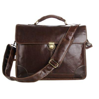Classic Vintage Leather Briefcase Laptop Bag Messenger Bag-Front