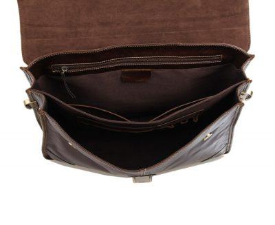 Classic Vintage Leather Briefcase Laptop Bag Messenger Bag-Inside