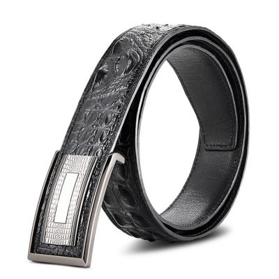 Elegant, Stylish Genuine Crocodile Belt-Black