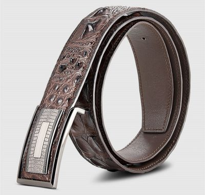 Elegant, Stylish Genuine Crocodile Belt-Brown