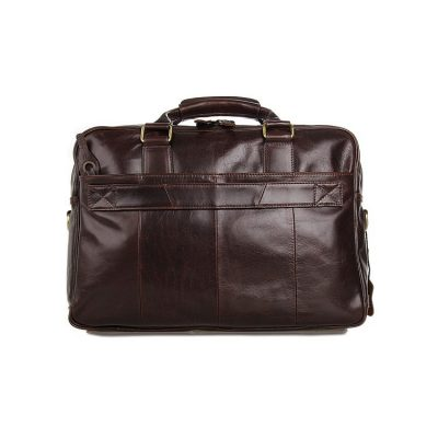 Leather Travel Briefcase, Large Leather Briefcase for Men-Back