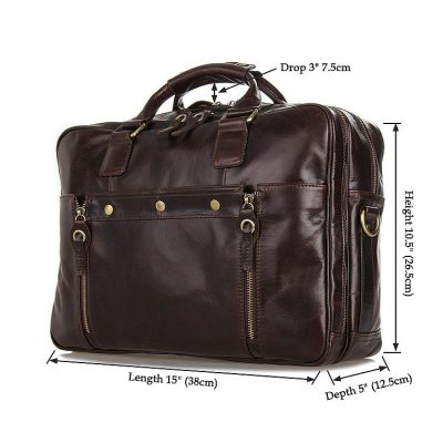 Leather Travel Briefcase, Large Leather Briefcase for Men-Size