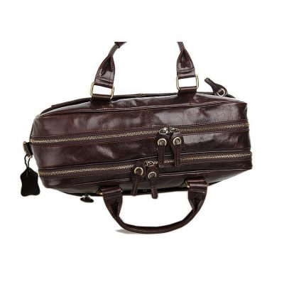 Leather Travel Briefcase, Large Leather Briefcase for Men-Top