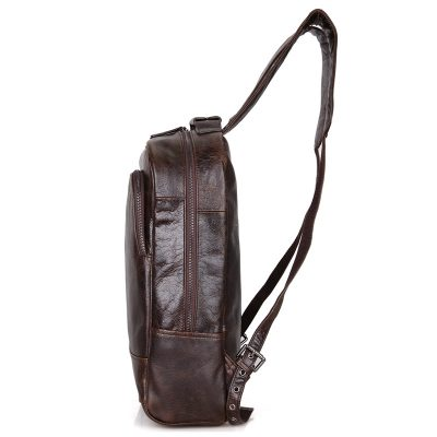 Men's Vintage Leather Backpack, Leather Rucksack-Side