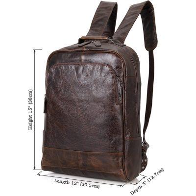 Men's Vintage Leather Backpack, Leather Rucksack-Size