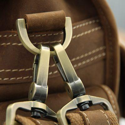 Men's Brown Leather Briefcase Laptop Hand Bag-Hardware