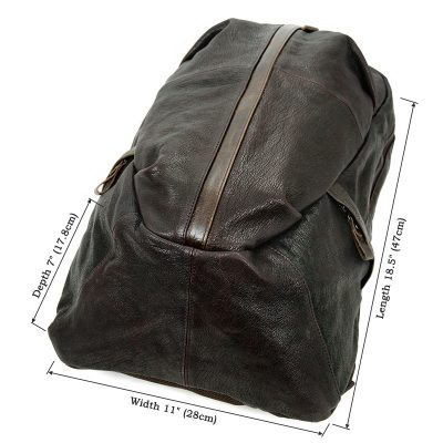Mens Full Grain Leather Backpack, Leather Rucksack-Size