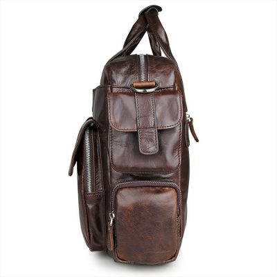 Men's Style Leather Travel Briefcase-Side