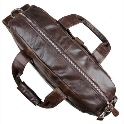 Men's Style Leather Travel Briefcase-Top