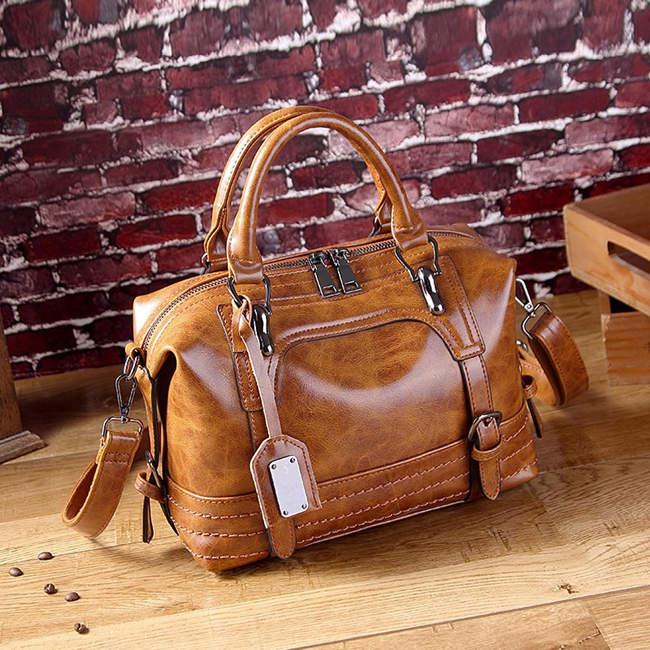 Neely Leather Hobo Handbag-Brown