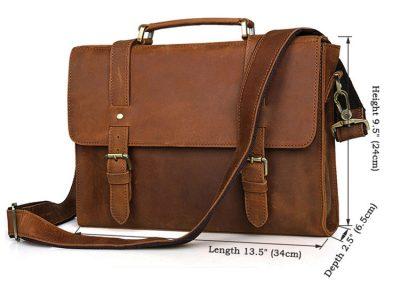 Slim Leather Messenger Bag, Leather Laptop Bag-Size