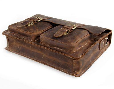 Style Men's Leather Messenger Bag Briefcase Laptop Bag-Bottom