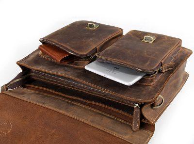 yle Men's Leather Messenger Bag Briefcase Laptop Bag-Pockets