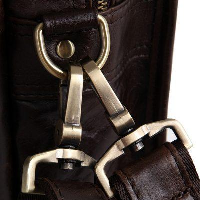 Stylish Leather Briefcase, Leather Laptop Messenger Bag-Hardware