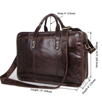 Stylish Leather Briefcase, Leather Laptop Messenger Bag-Size