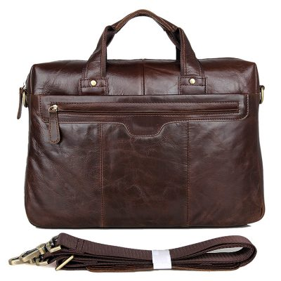 Vintage Leather Briefcase Laptop Messenger Bag with Removable Shoulder Strap