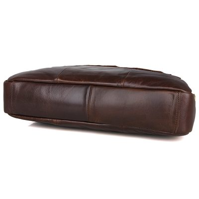 Vintage Leather Briefcase Laptop Messenger Bag with Removable Shoulder Strap-Bottom
