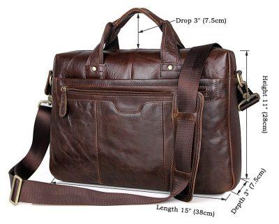 Vintage Leather Briefcase Laptop Messenger Bag with Removable Shoulder Strap-Size