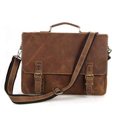 Vintage Leather Messenger Bag in Brown with Adjustable Shoulder Strap