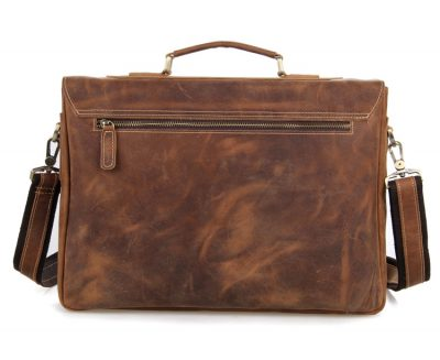 Vintage Leather Messenger Bag in Brown with Adjustable Shoulder Strap-Back